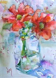 Watercolour painting of red flowers in vase by Nora MacPhail. #watercolor, #art, #flower, See me paint it on YouTube http://www.youtube.com/watch?v=a9Uv8n5zB_Y