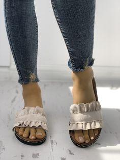 Shop Ruffles Hem Casual Summer Slipper right now, get great deals at Joyshoetiqu. - Shop Ruffles Hem Casual Summer Slipper right now, get great deals at Joyshoetique. Source by Lauriestxxx - Women's Shoes, Cute Shoes, Me Too Shoes, Shoe Boots, Dance Shoes, Summer Slippers, Summer Shoes, Summer Sandals, Summer Outfits
