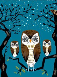 iOTA iLLUSTRATION  Three Lazy Owls  Animal Art by iotaillustration, $20.00