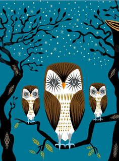 iOTA iLLUSTRATION  Three Lazy Owls  Animal Art by iotaillustration, $20.00