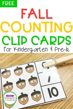 These Fall counting clip cards make a great addition to your Kindergarten learning activities focusing on math! The objective of using these clip cards is for students to practice counting a group of objects. By using these clip cards, your students will be demonstrating their ability to identify numbers 1-10. Grab your free copy today! #learningactivities #backtoschool #kindergarten #prek #preschool