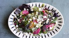 To prep this cucumber salad ahead (there's a lot of slicing involved), hold beets and scallions in a bowl of cold water with a splash of vinegar, which both seasons them and maintains crunch.
