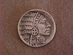 Carved Hobo Nickel Indian Chief with Headdress Folk Art Ohns Member RM 1304 Hobo Nickel, Headdress, Folk Art, Buffalo, Carving, Indian, Ebay, Popular Art, Fascinators