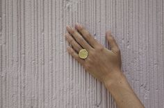 BAGUE V RING - A ring in vermeil featuring a coin-like disc with an intaglio imprint. 24-Karat Yellow Gold Handcrafted in France by: Lara Melchior