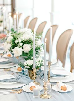 Top 5 Dusty Blue Wedding Color Schemes for 2020 Trends, wedding reception ideas Wedding Table Decorations, Wedding Table Settings, Bridal Shower Decorations, Wedding Centerpieces, Tall Centerpiece, Elegant Table Settings, Wedding Tables, Wedding Reception, French Blue Wedding