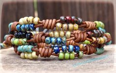 Beaded Wrap Bracelet/ Seed Bead Leather Wrap Bracelet/ Beaded