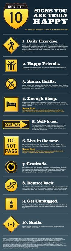 Signs of Happiness Infographic  So awesome   Check us out at: www.puredesignsforliving.com