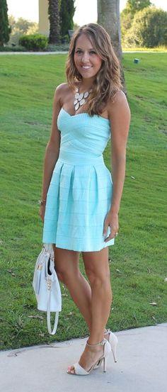 Strapless mint mini summer dress