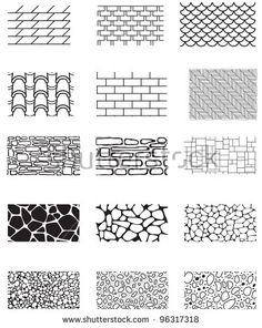 Collection of the building wall texture. Stone cladding, brick, roof, sidewalk, pavement. Endless pattern. Texture Architecture, Architecture Symbols, Architecture Drawing Sketchbooks, Landscape Architecture Drawing, Architecture Concept Drawings, Landscape Sketch, Landscape Drawings, House Architecture, Landscape Design