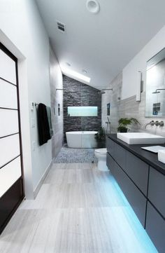 Long Narrow Bathroom, Double Shower And Vanity Glass Wall To Pertaining To Bathroom Design Ideas Long Narrow - Best Home Decor Ideas