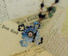 Baroque Cross with Swarovski LONG Necklace.  by jillmccp on Etsy