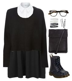 """""""Sam"""" by fionita ❤ liked on Polyvore featuring John Lewis, Topshop, Rundholz, Dr. Martens, Oliver Peoples, Ann Demeulemeester, Forever 21, BOBBY, school and Boots"""