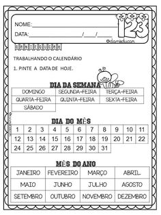 Atividades do calendário - DaniEducar Teaching Materials, Classroom Organization, Teaching Kids, Professor, Back To School, Periodic Table, Homeschool, Teacher, Junho