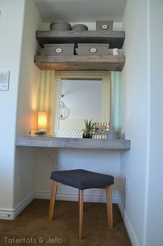 DIY Floating Desk and Shelves for a Bedroom-- Tatertots and Jello *** spare bedroom nook *** Bedroom Alcove, Home Bedroom, Bedroom Decor, Corner Shelves Bedroom, Box Room Bedroom Ideas, Alcove Desk, Bedroom Shelving, Bedroom Vanities, Alcove Shelving