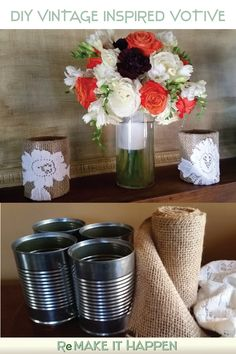 Make this vintage-inspired candle votive with soup cans and burlap. Votive Candles, Warm And Cozy, Fall Decor, Vintage Inspired, Burlap, Soup, Diy Projects, Canning, Lace
