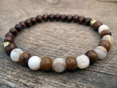 Mens tribal surfer bracelet, bone, wood and stone beads, upcycled stretch bracelet, natural materials, handmade