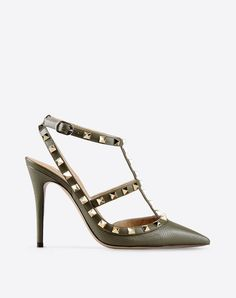 Studs,Solid colour,Leather sole,Buckling ankle strap closure,Narrow toeline,Spike heel,