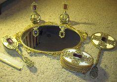 Antique Apollo Brass Amethyst Filigree Vanity Set Perfume Bottles RARE Stunning   eBay