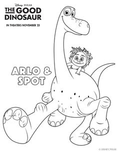 The Good Dinosaur Coloring Pages: Arlo and Spot