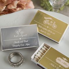 Personalized Metallics Collection Matchbox Favors (Pack of Add an elegant personal touch to your next grand affair when you offer each guest a box of matches customized with your own unique message. The two piece match box contains approx 20 woo Unique Wedding Favors, Wedding Party Favors, Unique Weddings, Wedding Ideas, Gold Wedding Theme, Wedding Matches, Wedding Shoppe, Event Themes, Bridal Shower Party