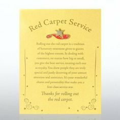 Character Pin - Red Carpet Service by Baudville. $7.95. Our Character Pins make it easy to celebrate and appreciate the character traits you value most in your staff, co-workers and mentors. Character Pins are the unique gift of a story and exclusive matching lapel pin. Lapel Pin is affixed to a heavyweight ca