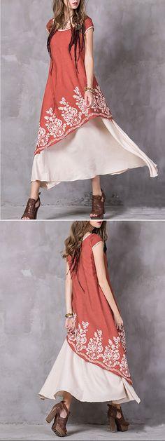 Gracila Vintage Embroidery Sleeveless O Neck Women Dresses