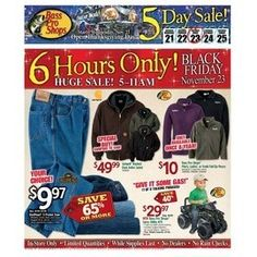 BASS PRO SHOPS 2012 BLACK FRIDAY AD Bass Pro Shops' Black Friday 2012 ad has just been leaked! Their sale will run for a full 5 days, starting early on Wednesday, November 21. They will also have a large selection of doorbuster deals that will only be available from 5:00 am to 11:00 am on Black Friday. The 49-page flyer is packed with deals on top brand activewear and outdoor clothing and footwear, as well as on a wide selection of fishing and hunting equipment. If you need to cross off…
