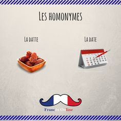 Aujourd'hui, on voit deux #homonymes : La datte et la date ! - Hoy, vemos dos #homónimos: La fecha y el dátil - Today, we see two #homonyms: The date and the date - #Français #Francés #French #FLE #DELF #Frenchlanguage #learnfrench #Speakfrench #Idiomafrancés #Aprenderfrances #HablarFrancés #LangueFrançaise #Apprendrelefrançais #ParlerFrançais Basic French Words, French Phrases, French Quotes, How To Speak French, Learn French, French Language Lessons, French Language Learning, French Lessons, French Teacher