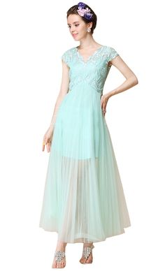 Green Cap Sleeve Lace Embroidery Mesh Yoke Dress- very different and old fashioned looking