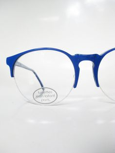 Vintage Jean Lafont 1960s Blue Round P3 Eyeglasses Glasses Optical Frames France French Cobalt Sapphire 60s Neon Colorful Womens Sunnies