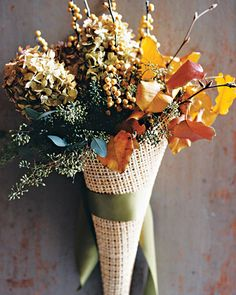 Woven Door Arrangements  Fill horns of plenty with autumnal flora for exuberant door decorations.  How to Make Woven Door Arrangements