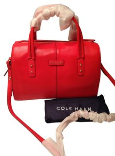 Cole Haan Nwt! Large Emma Leather Tote Crossbody Handbag Red Satchel. GORGEOUS GIFT!!! BIG SALE TODAY!!! FREE SHIPPING & RETURNS!!! NO TAX!!!