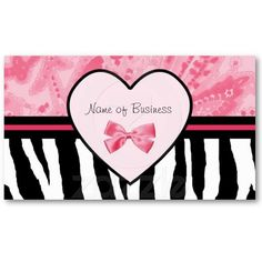 Trendy Pink And Black Zebra Print With Ribbon Business Card