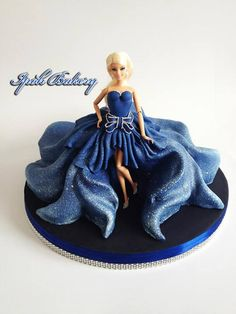 Ipoh Bakery fashion doll cake in deep blue sparkle