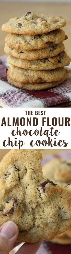 Flour Chocolate Chip Cookies (Grain-Free) An all-time favorite recipe! Crispy on the outside, soft on the inside and slightly buttery. People tell me all the time they prefer these cookies to their traditional cookie recipes.Inside Inside may refer to: Low Carb Sweets, Low Carb Desserts, Healthy Sweets, Gluten Free Desserts, Healthy Baking, Low Carb Recipes, Paleo Recipes, Free Recipes, Diabetic Desserts