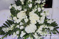 White wedding flowers at Royal Palace Banquet Hall Glendale CA.
