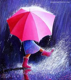 """'Rain Girl' by Dima Dmitriev Umbrella Painting, Rain Painting, Umbrella Art, Painting Of Girl, Rain Pictures, Pictures To Draw, Girl In Rain, Pastel Art, Figurative Art"