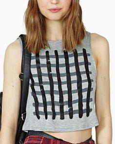 Stripe plaid backless tank top for women gray short t shirts sleeveless design