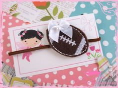 Oh so cute little football baby headband. How cute this sweet little headband will be wrapped around her head! :)   Attached to a Brown 1/8
