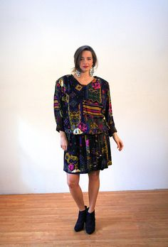 Vikki, Tribal Print Dress XL, 80s Printed Dress, Aztec Southwestern Boho Dress, Dropped Waist Dress, Vintage Rayon Dress, Geometric Dress