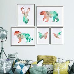 Geometric Animals Canvas Art Print Painting Poster, Giclee Print Wall Pictures…