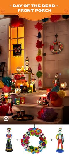 Light up the night and turn your front porch into a colorful celebration with Day Of The Dead decor. The bright, bold colors of this collection make it a wonderful welcome statement. Gather clusters of tall glass candles to compliment your Day Of The Dead decor, and turn pumpkins into vases for festive flower displays. For more party vibes, add in a wreath, wall hangings and figurines.