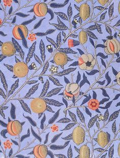 """Blue Fruit"" or ""Pomergranate""- The design is of fruit and flowers on branches.The vibrant orange/coral accents from the flowers and fruit contrast the light purple background. The leafs are kept purple so your eyes aren't drawn away from the detail of the fruit, but it also adds tone and dimension to the design. Small coloured dots are effectively used to represent tone on the fruit. Small thin lines can also be seen adding tone to the flowers and neutral grey branches."