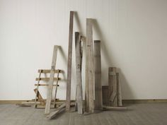 Cornelia Parker: Unsettled, 2012 - 2013 Wood found on the streets of Jerusalem, wire Dimensions variable