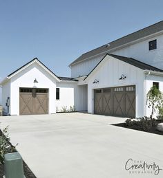 Transform and update the exterior of your home instantly by replacing garage doors with a more modern garage door design. We're showing you garage door styles to consider and what you need to think about when choosing modern garage door designs. Modern Farmhouse Exterior, Modern Farmhouse Style, Farmhouse Door, Rustic Exterior, Cottage Exterior, Farmhouse Remodel, Wooden Garage Doors, Wooden Windows, Grey Garage Doors