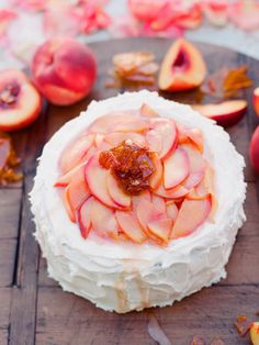 Cake with white icing & peaches