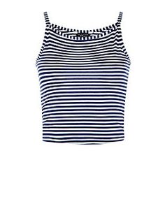 Teens White Stripe High Neck Cami  | New Look