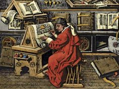 Photograph:A French scholar works on a manuscript in a monastery, in a painting from about 1480. During the Middle Ages, monasteries and cat...