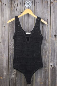 Stretch Crochet V-Neck Bodysuit