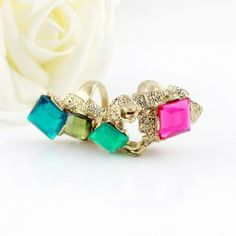 Fashion Colored Faux Crystal Embellished Alloy Ring With Two Loops For Women YE3333701  Rating: 0.0 stars (0)    Write a review   Ask a q...